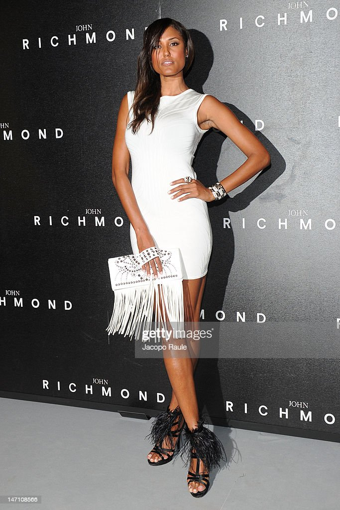 Janine Fox arrives at the John Richmond show as part of Milan Fashion Week Menswear Spring/Summer 2013 on June 25, 2012 in Milan, Italy.