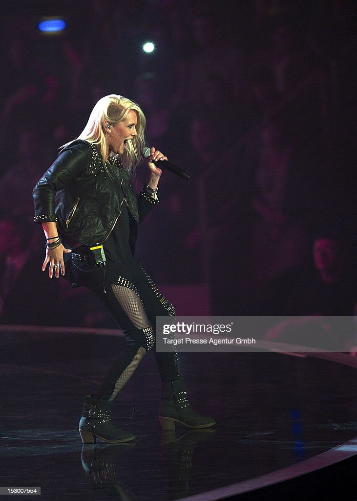 Janine Meyer of the band 'Luxuslaerm' performs during the 'Bundesvision Song Contest 2012' at the Max-Schmeling-Halle on September 28, 2012 in Berlin, Germany.