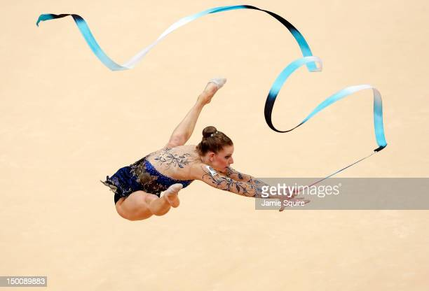 Janine Murray of Australia competes during the Rythmic Gymnastics Individual AllAround competition on Day 14 of the London 2012 Olympic Games at...
