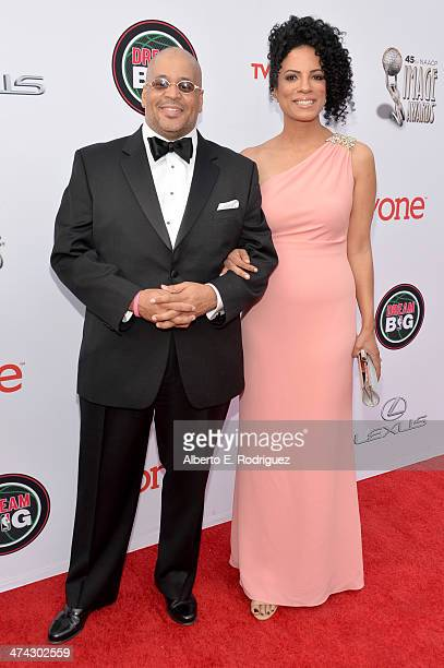 Janine Sherman Barrois and Lyndon Barrois attend the 45th NAACP Image Awards presented by TV One at Pasadena Civic Auditorium on February 22 2014 in...