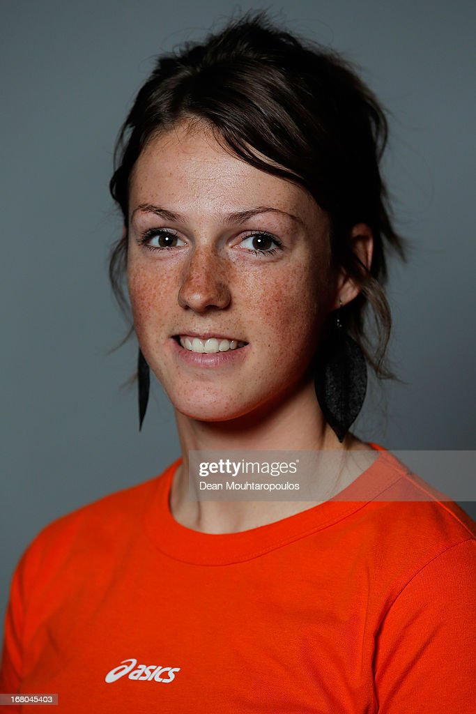 Janine Smit, poses during the NOC*NSF (Nederlands Olympisch Comite * Nederlandse Sport Federatie) Sochi athletes and officials photo shoot for Asics at the Spoorwegmuseum on May 4, 2013 in Utrecht, Netherlands.