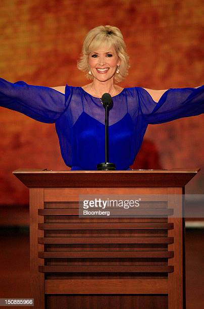 Janine Turner actress and Tea Party activist gestures while speaking at the Republican National Convention in Tampa Florida US on Tuesday Aug 28 2012...