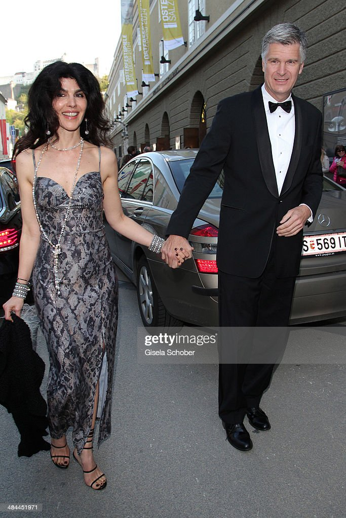 Janine White and her boyfriend Andreas Rueter attend the opening of the easter festival 2014 (Osterfestspiele) on April 12, 2014 in Salzburg, Austria.