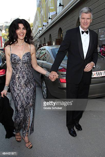 Janine White and her boyfriend Andreas Rueter attend the opening of the easter festival 2014 on April 12 2014 in Salzburg Austria