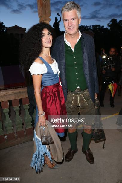 Janine White and her husband Andreas Rueter during the opening of the Oktoberfest 2017 at Kaeferschaenke at Theresienwiese on September 16 2017 in...