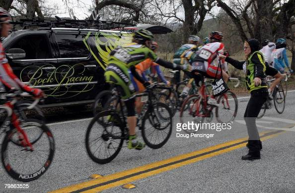 Janis Burns soigner for Rock Racing delivers lunch to rider Doug Ollerenshaw during Stage 3 of the Amgen Tour of California on February 20 2008 from...