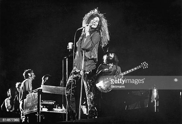 Janis Joplin and her final group the Full Tilt Boogie Band perform at the Festival for Peace at Shea Stadium