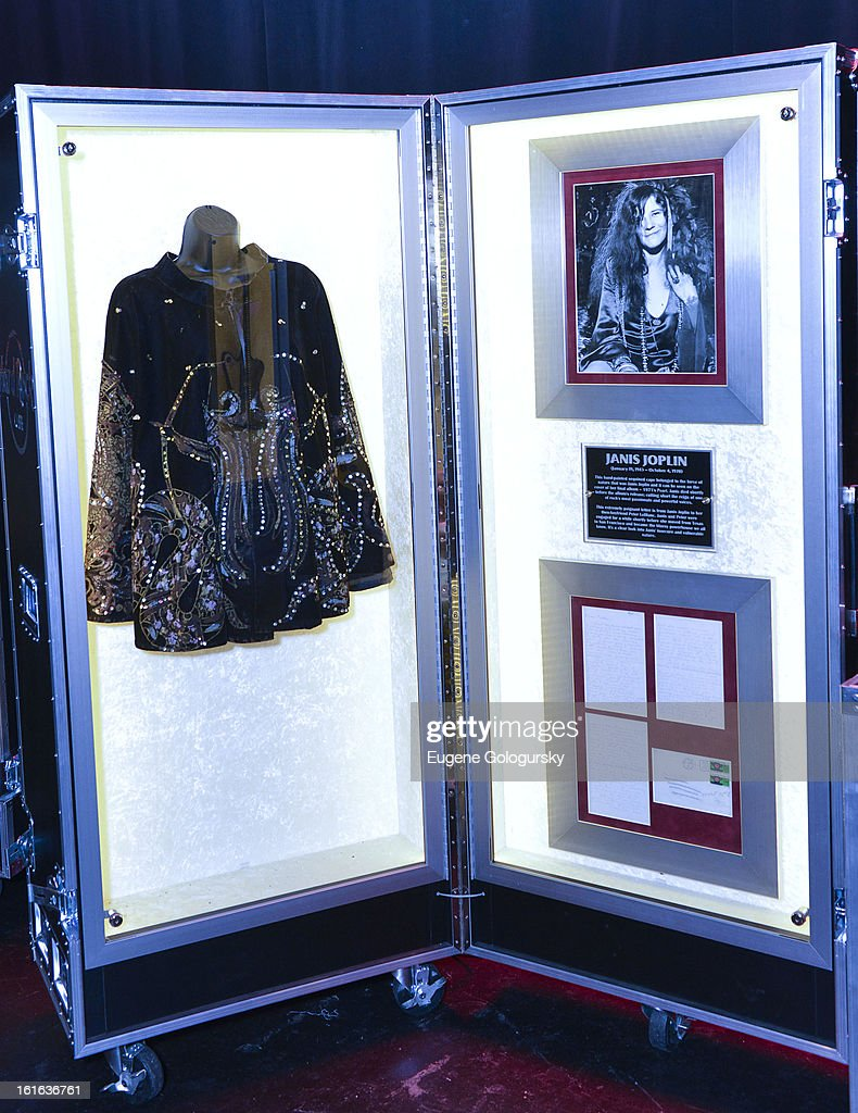 Janis Joplin memorabilia at the 'Gone Too Soon' and 'Music Gives Back' Media Preview Day at the Hard Rock Cafe, Times Square on February 13, 2013 in New York City.