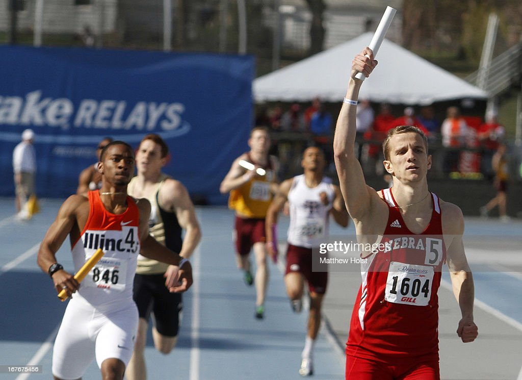 Janis Leitis, of the Nebraska Cornhuskers, celebrates after anchoring a victory in the Men's 4x400 meter at the Drake Relays, on April 27, 2013 at Drake Stadium, in Des Moines, Iowa.