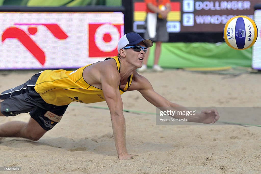 Janis Smedins from Latvia receives the ball during the match between Latvia and from Germany during Day 5 of the FIVB World Championships on July 5, 2013 in Stare Jablonki, Poland.