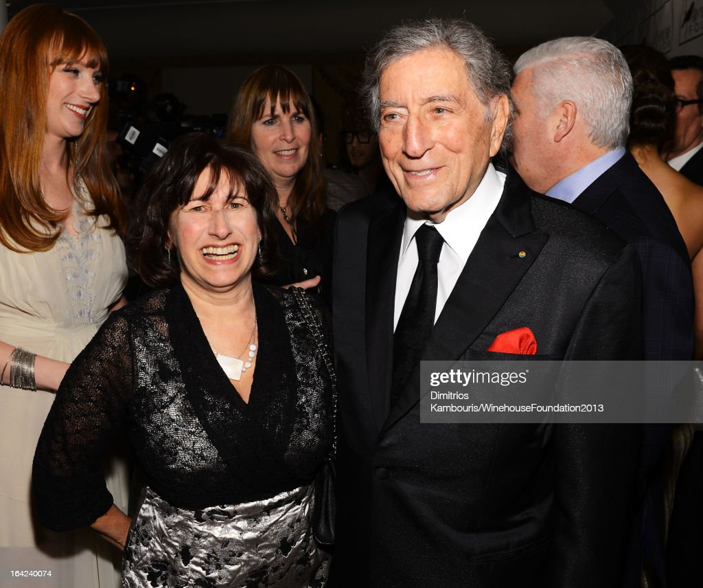Janis Winehouse Collins and <a gi-track='captionPersonalityLinkClicked' href=/galleries/search?phrase=Tony+Bennett+-+Singer&family=editorial&specificpeople=160951 ng-click='$event.stopPropagation()'>Tony Bennett</a> attend the 2013 Amy Winehouse Foundation Inspiration Awards and Gala at The Waldorf=Astoria on March 21, 2013 in New York City.