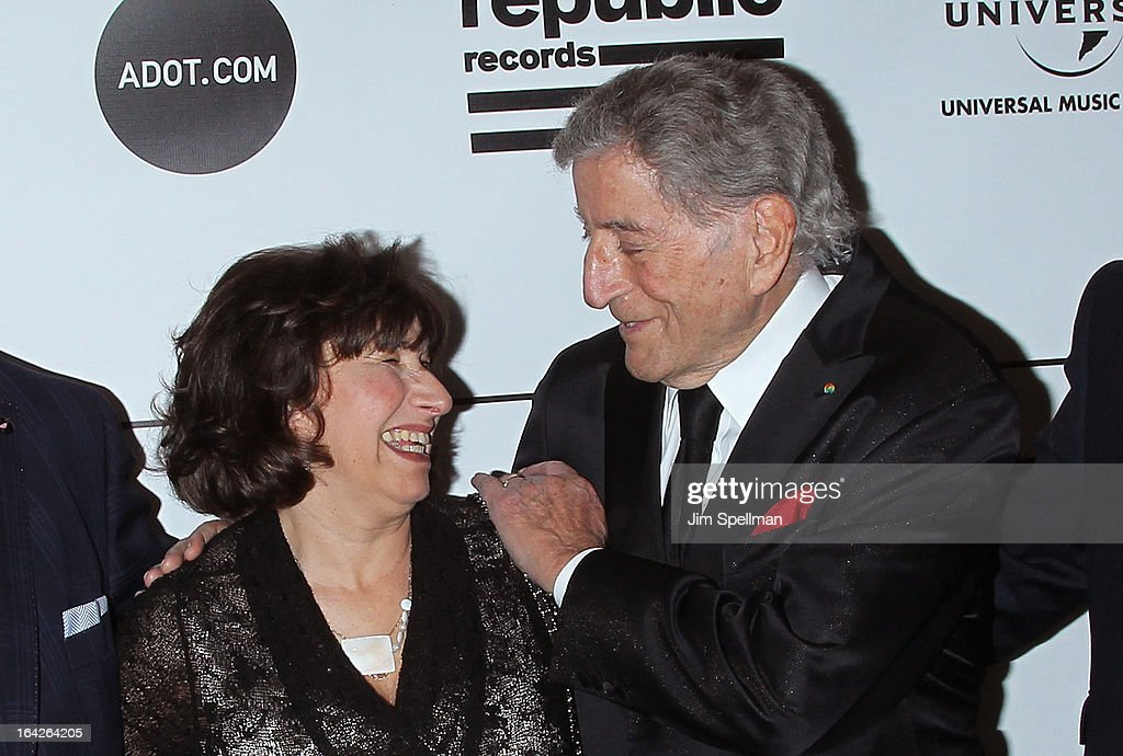 Janis Winehouse Collins and <a gi-track='captionPersonalityLinkClicked' href=/galleries/search?phrase=Tony+Bennett+-+Singer&family=editorial&specificpeople=160951 ng-click='$event.stopPropagation()'>Tony Bennett</a> attends the 2013 Amy Winehouse Foundation Inspiration Awards and Gala at The Waldorf=Astoria on March 21, 2013 in New York City.