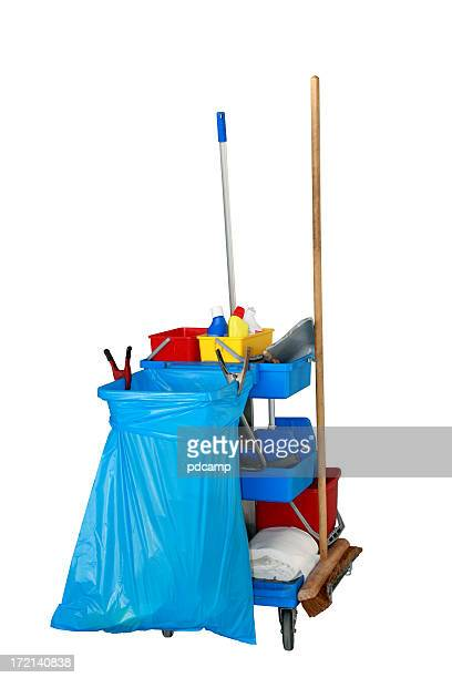 Janitor's cleaning cart on white