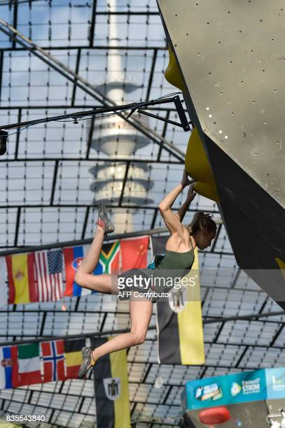 Janja Garnbret from Slovenia competes during the IFSC Bouldering Worldcup in the southern German city of Munich on August 19 2017 / AFP PHOTO /...