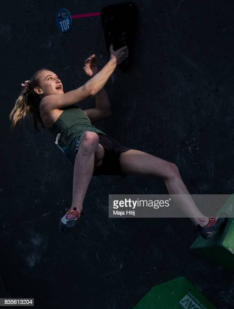 Janja Garnbret of Slovenia competes during final at the IFSC Climbing World Cup Munich on August 19 2017 in Munich Germany