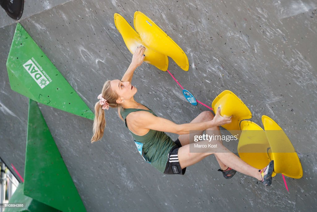 Janja Garnbret of Slovenia competes during the finals of the IFSC Bouldering World Cup Munich on August 19, 2017 in Munich, Germany.