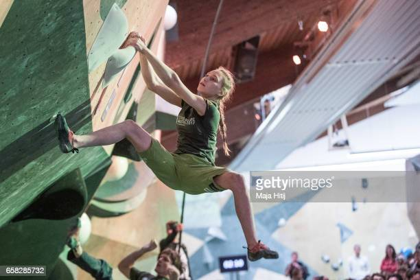 Janja Garnbret of Slovenia during women finals of bouldering event Studio Bloc Masters 2017 on March 26 2017 in Pfungstadt Germany