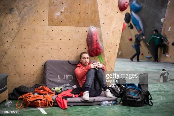 Janja Garnbret of Slovenia waits prior women semi finals of bouldering event Studio Bloc Masters 2017 on March 26 2017 in Pfungstadt Germany