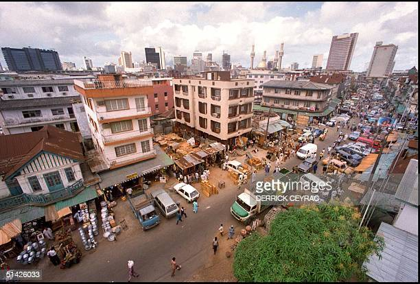 'Jankara' market located on Lagos Island and the skyline of the city of Lagos May 1991