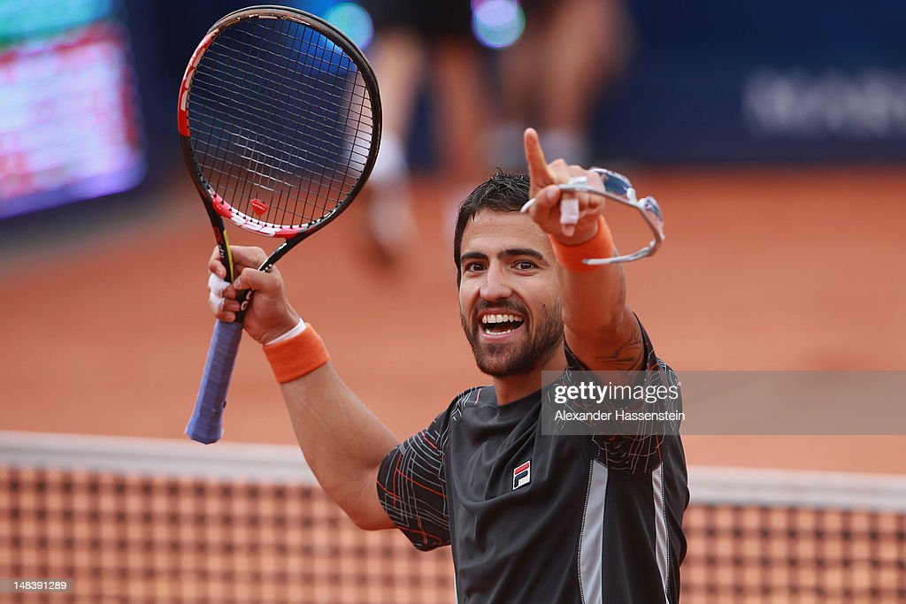 Janko Tipsarevic of Serbia celebrates victory after winning his finale match against Juan Monaco of Argentinia during day 6 of Mercedes Cup 2012 at the TC Weissenhof on July 15, 2012 in Stuttgart, Germany.