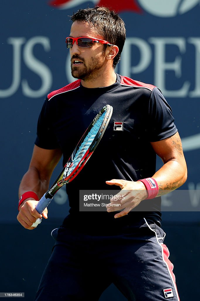 Janko Tipsarevic of Serbia in action during his men's singles second round match against Dudi Sela od Israel on Day Four of the 2013 US Open at USTA Billie Jean King National Tennis Center on August 29, 2013 in the Flushing neighborhood of the Queens borough of New York City.