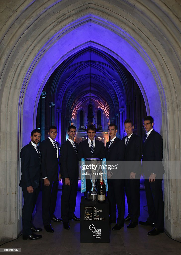Janko Tipsarevic of Serbia, Jo-Wilfried Tsonga of France, Novak Djokovic of Serbia, Roger Federer of Switzerland, Andy Murray of Great Britain, Tomas Berdych of Czech Republic and Juan Martin del Potro of Argentina pose for a photo during previews for the ATP World Tour Finals Tennis on November 3, 2012 in London, England. The world's top eight tennis players arrive at the Royal Court's of Justice for the official Barclays ATP World Tour Finals Gala, hosted by Great Ormond Street Hospital Children's Charity, and generously supported by Moet & Chandon.
