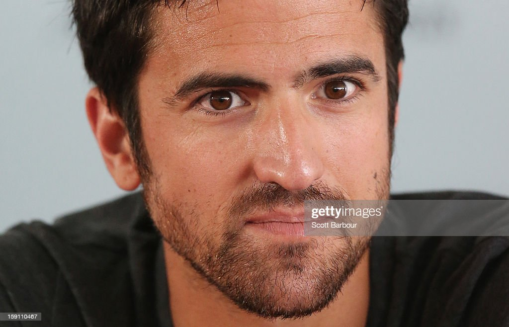 <a gi-track='captionPersonalityLinkClicked' href=/galleries/search?phrase=Janko+Tipsarevic&family=editorial&specificpeople=546505 ng-click='$event.stopPropagation()'>Janko Tipsarevic</a> of Serbia looks on during the AAMI Classic press conference at Kooyong on January 8, 2013 in Melbourne, Australia.