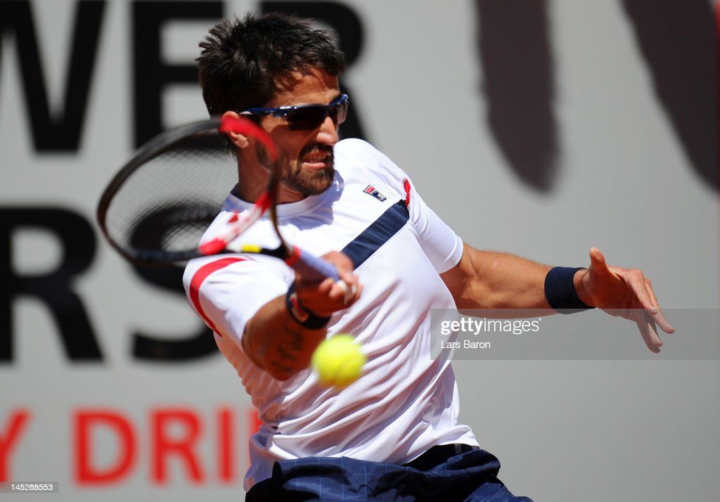 Janko Tipsarevic of Serbia plays a forehand during his match against Philipp Kohlschreiber of Germany during day six of Power Horse World Team Cup at Rochusclub on May 25, 2012 in Duesseldorf, Germany.