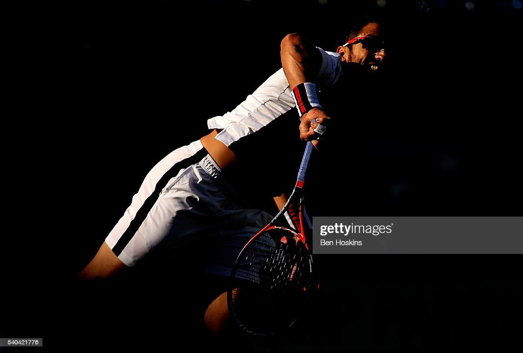 <a gi-track='captionPersonalityLinkClicked' href=/galleries/search?phrase=Janko+Tipsarevic&family=editorial&specificpeople=546505 ng-click='$event.stopPropagation()'>Janko Tipsarevic</a> of Serbia serves during his second round match against Marin Cilic of Croatia on day three of The Aegon Championships at The Queens Club on June 15, 2016 in London, England.