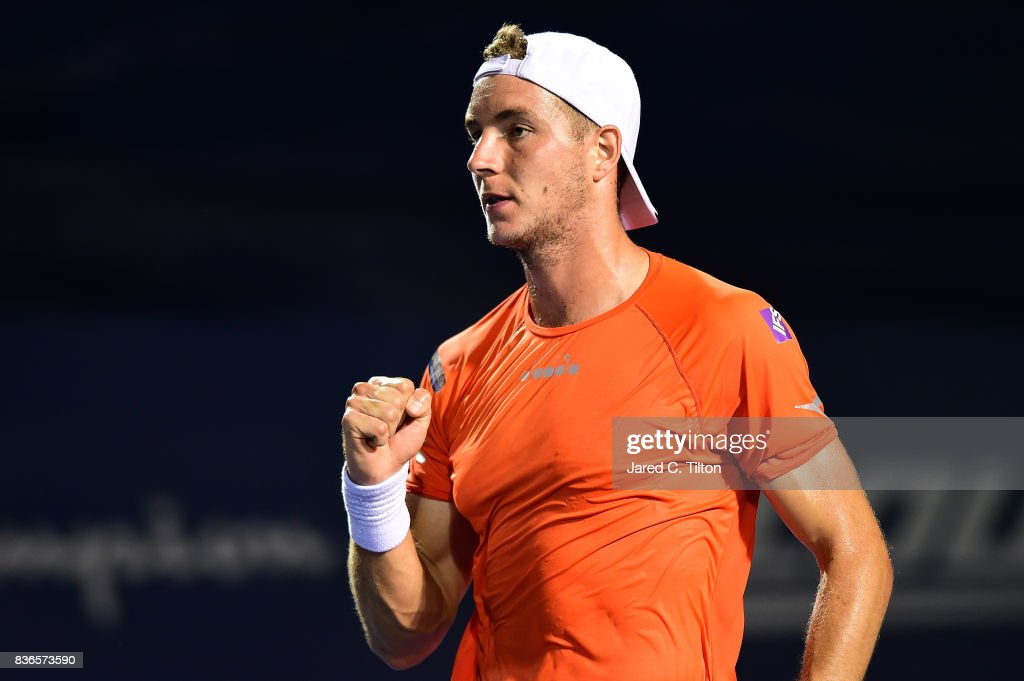 Jan-Lennard Struff of Germany reacts after a point against Pablo Cuevas of Uruguay during the third day of the Winston-Salem Open at Wake Forest University on August 21, 2017 in Winston Salem, North Carolina.