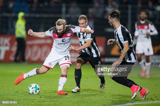 JanMarc Schneider of St Pauli scores his team's first goal during the Second Bundesliga match between SV Sandhausen and FC St Pauli at BWTStadion am...