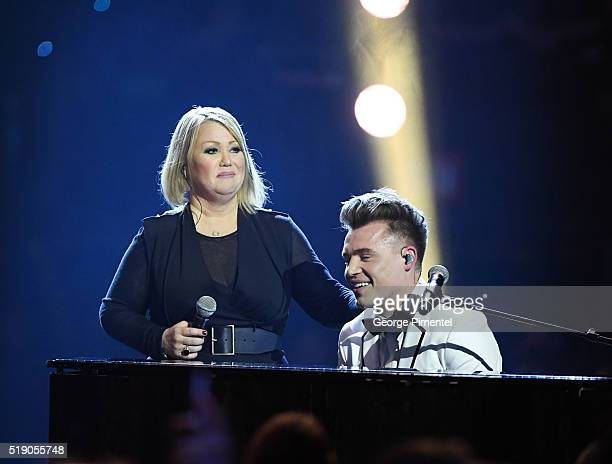 Jann Arden and Shawn Hook attend the 2016 Juno Awards at Scotiabank Saddledome on April 3 2016 in Calgary Canada