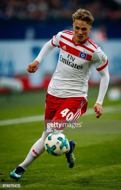 Jann Fiete Arp of Hamburg runs with the ball during the Bundesliga match between FC Schalke 04 and Hamburger SV at VeltinsArena on November 19 2017...