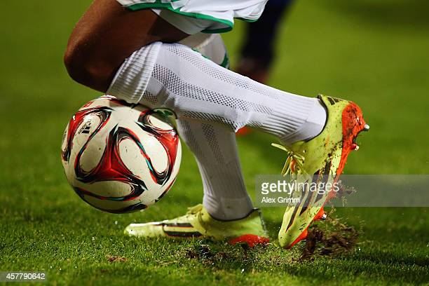 Jann George of Greuther Fuerth controles the ball during the Second Bundesliga match between Greuther Fuerth and FSV Frankfurt at TrolliArena on...