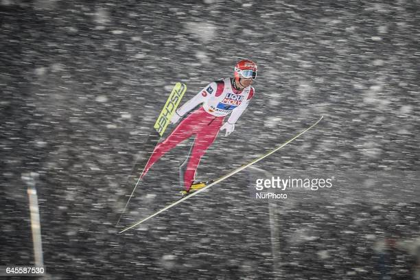 Janna Ahonen competes in the Mixed Team HS100 Normal Hill Ski Jumping during the FIS Nordic World Ski Championships on February 26 2017 in Lahti...