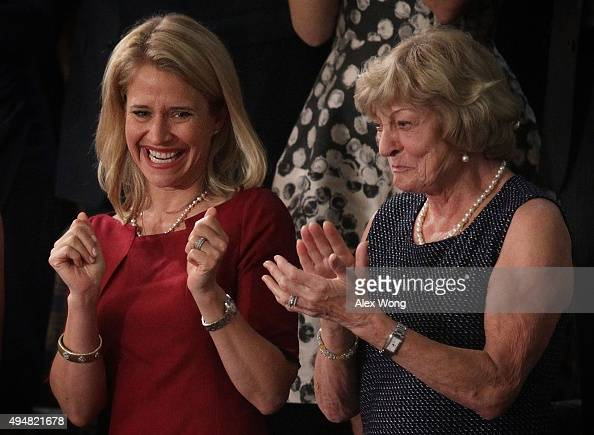 Janna Ryan and Elizabeth Ryan wife and mother of incoming Speaker of the House Rep Paul Ryan watch a speaker election in the House Chamber of the...
