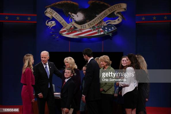 Janna Ryan US Vice President Joe Biden Jill Biden and Republican vice presidential candidate US Rep Paul Ryan and their families talk on stage after...