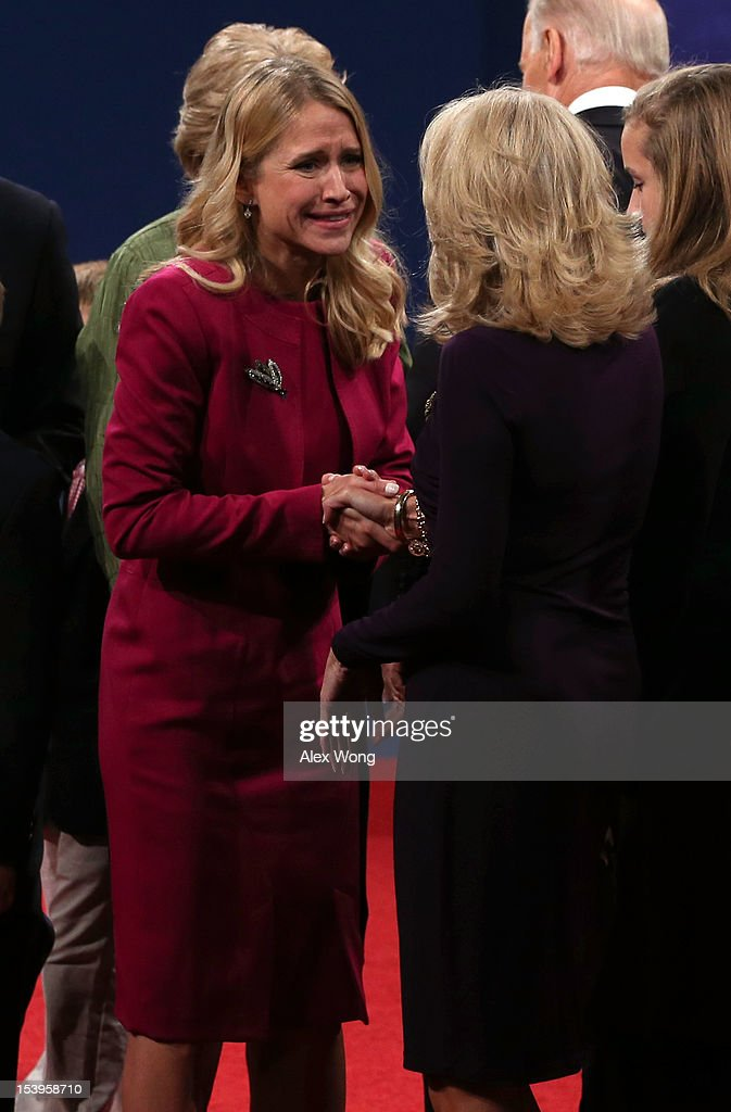 Janna Ryan (L), wife of Paul Ryan greets Dr. Jill Biden, wife of Joe Biden after the vice presidential debate at Centre College October 11, 2012 in Danville, Kentucky. This is the second of four debates during the presidential election season and the only debate between the vice presidential candidates before the closely-contested election November 6.