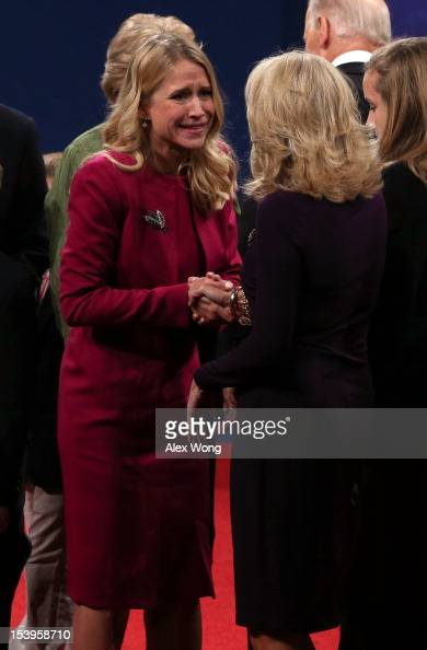 Janna Ryan wife of Paul Ryan greets Dr Jill Biden wife of Joe Biden after the vice presidential debate at Centre College October 11 2012 in Danville...
