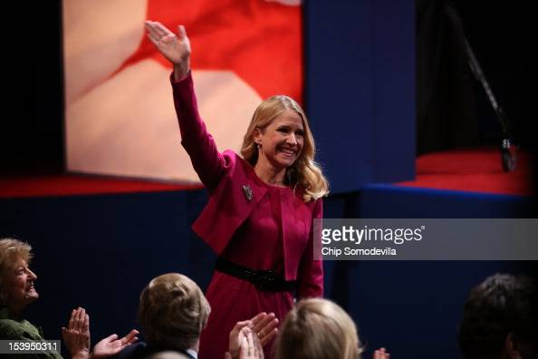 Janna Ryan wife of Paul Ryan waves to the crowd prior to the vice presidential debate at Centre College October 11 2012 in Danville Kentucky This is...