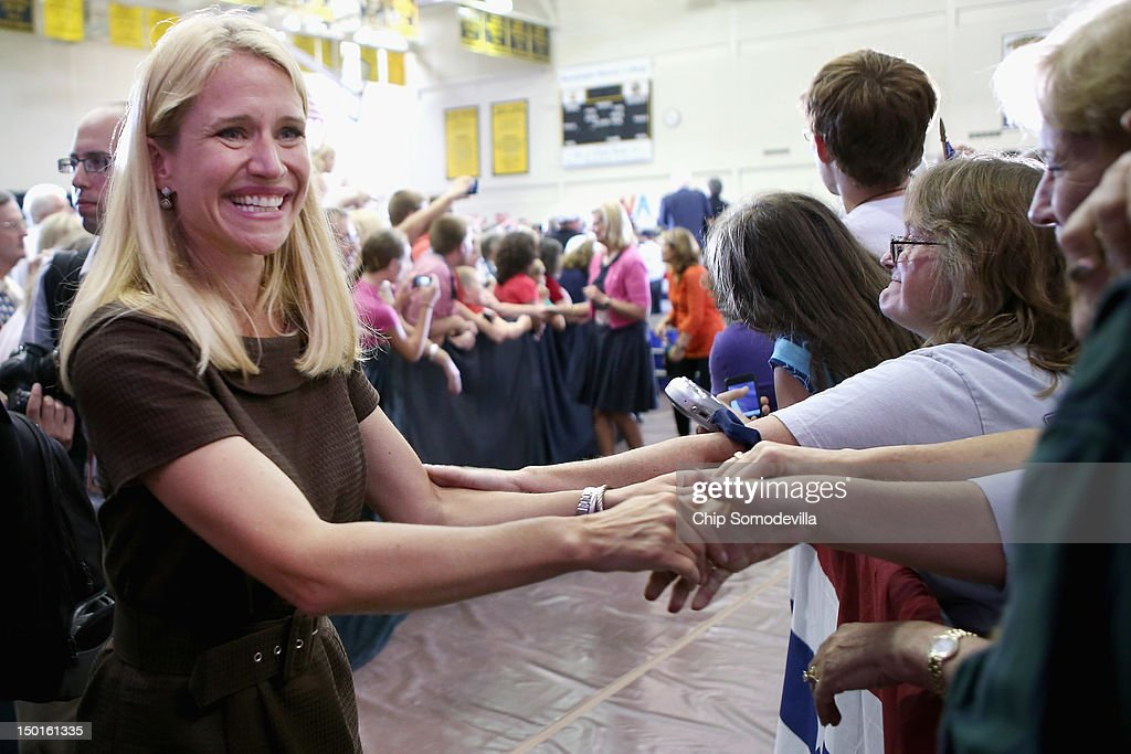 Janna Ryan (L), wife of Republican vice presidential candidate Rep. Paul Ryan (R-WI), greets supporters during a campaign event at the Crenshaw Gymnasium on the campus of Randolph-Macon College August 11, 2012 in Ashland, Virginia. The chairman of the House Budget Committee, Ryan, 42, has been a member of Congress from Wisconsin since 1999 and has earned praise from the right for his conservative fiscal positions.
