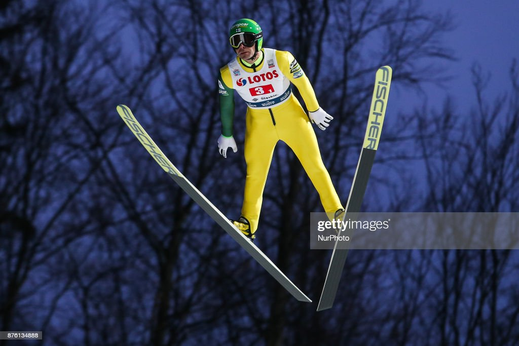 Janne Ahonen (FIN), competes in the team competition during the FIS Ski Jumping World Cup on November 18, 2017 in Wisla, Poland.