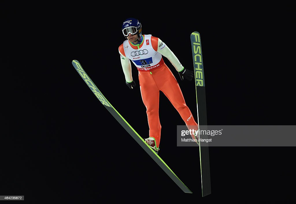 <a gi-track='captionPersonalityLinkClicked' href=/galleries/search?phrase=Janne+Ahonen&family=editorial&specificpeople=206764 ng-click='$event.stopPropagation()'>Janne Ahonen</a> of Finland competes during the Mixed Team HS100 Normal Hill Ski Jumping during the FIS Nordic World Ski Championships at the Lugnet venue on February 22, 2015 in Falun, Sweden.