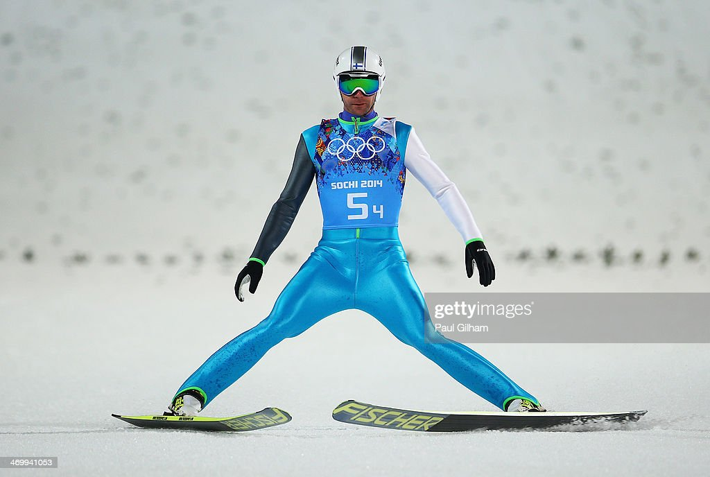 Janne Ahonen of Finland reacts during the Men's Team Ski Jumping first round on day 10 of the Sochi 2014 Winter Olympics at the RusSki Gorki Ski Jumping Center on February 17, 2014 in Sochi, Russia.