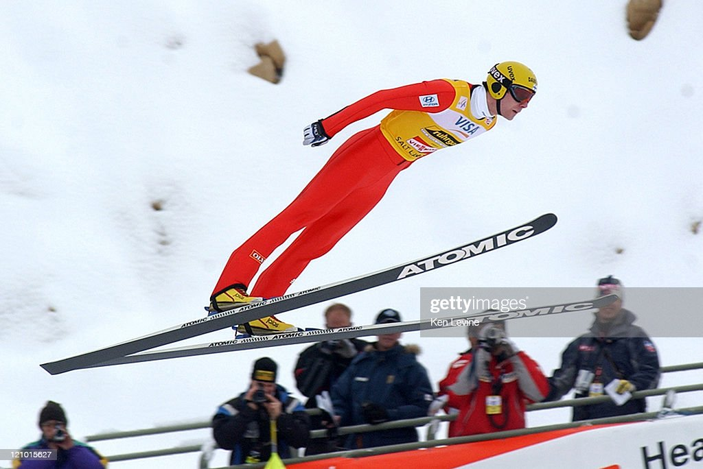 Janne Ahonen of Finland soars during his first jump at the Visa International Ski-Jumping Championship at Olympic Park in Park City, Utah. Ahonen finished in 14th place.