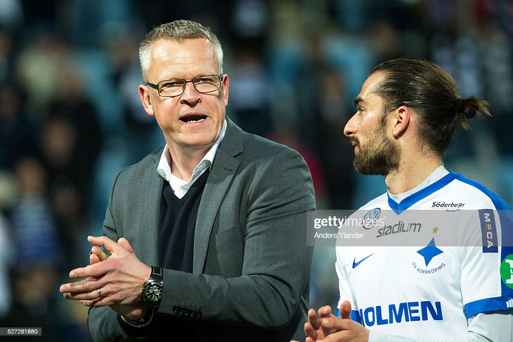 Janne Andersson, head coach of IFK Norrkoping and the next National team coach for Sweden and Christopher Telo of IFK Norrkoping celebrates the victory during the Allsvenskan match between IFK Norrkoping and Helsingborgs IF at Ostgotaporten on May 2, 2016 in Norrkoping, Sweden.