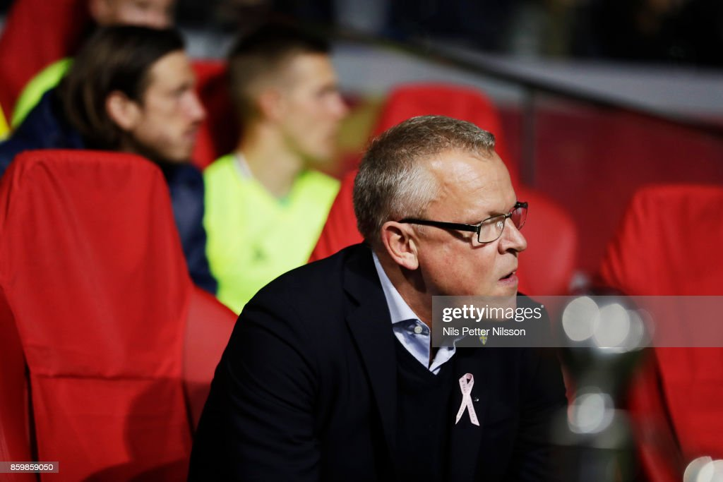 Janne Andersson, head coach of Sweden during the FIFA 2018 World Cup Qualifier between Netherlands and Sweden at Amsterdam ArenA on October 10, 2017 in Amsterdam, Netherlands.