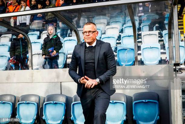 Jan Andersson head coach of Swedish football league team IFK Norrkoping reacts during a match between IFK Norrkoping and Kalmar FF at Nya Parken...
