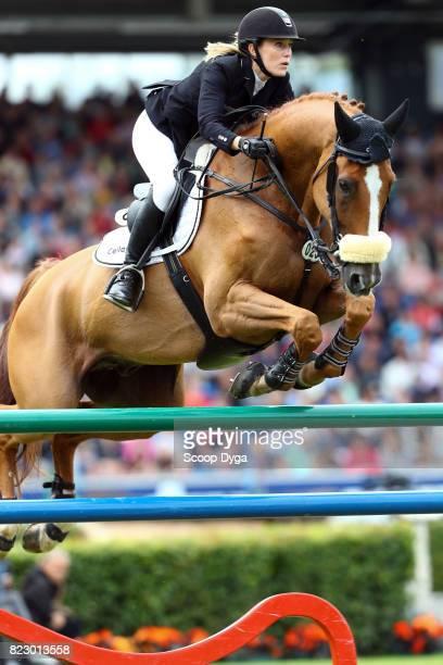 Janne Friederike MEYERZIMMERMANN riding GOJA during the Rolex Grand Prix part of the Rolex Grand Slam of Show Jumping of the World Equestrian...