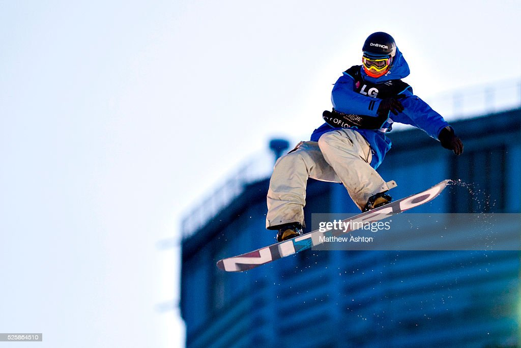 Janne Korpi from Norwway competing in the LG Snowboard International Ski Federation in London